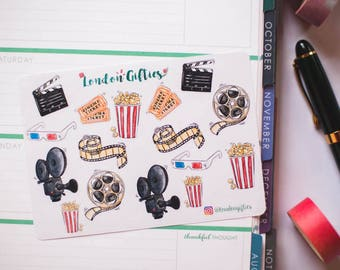Cinema & popcorn lover - decorative watercolour planner stickers suitable for any planner -343-