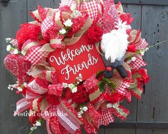 Summer Deco Mesh Wreath - Summer Front Door Wreath - Summer Wreath - Deco Mesh Wreath - Spring Mesh Wreath - Door Wreath - Garden Gnome