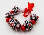 Lampwork Bead Set; Red, White, Black Glass Beads.