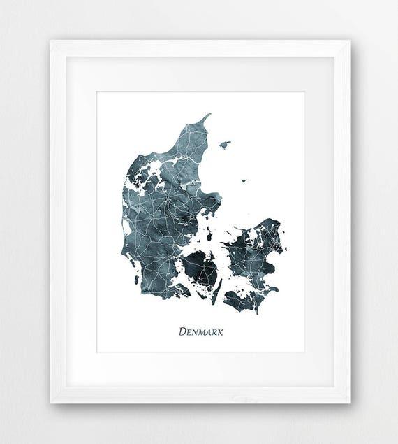 Denmark Map Print Denmark Poster Map Denmark Wall Art