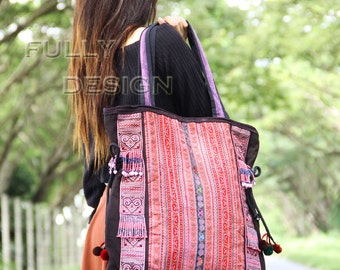 Mhong, Tribal bag, Medium size multi-colors, Decorated with colorful beads.
