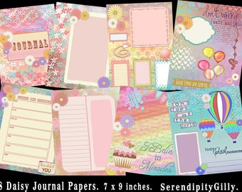 8 Daisy Journal Papers.    (7 x 9 inches.)   DOWNLOAD