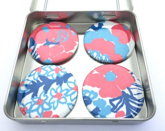 """Lilly Pulitzer """"White Shell Yeah"""" Fabric Magnet Set"""