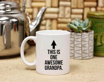 Personalized Awesome Grandfather Grandpa Coffee Mug, Custom Print Coffee Mug, Ceramic Coffee Mug - White Only --27098-CM03-601
