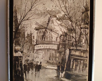 George Behras 1971 Paris Moulin Rouge Impressionist Oil Painting, Monochromatic