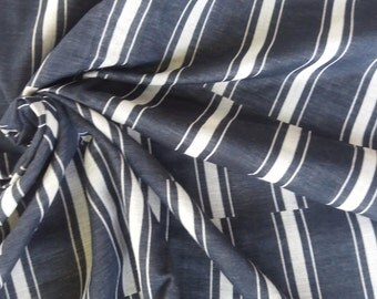 Thai Double Gauze. Navy staggered stripe. 1 metres/1.1 yards