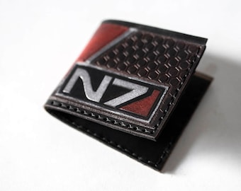 Mass Effect Leather Wallet - Hand Tooled - N7 - Six Card Slots