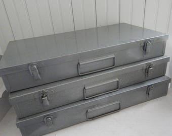 Gray Steel Slide Catalog Case - 1950s / 1960s Projector Slide Organizer - Industrial Storage Box - Slide Catalog Suitcase - Grey Metal Case