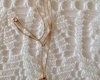 18K gold necklace, 18K gold heart, vintage necklace, gold yellow necklace, for her, vintage necklace