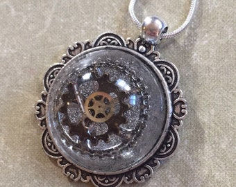 Steampunk Gears In Resin Necklace Pendant Unusual Upcycle Watch Parts Repurposed Upcycle