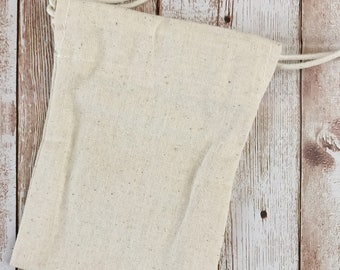 "Muslin Bag, 9x11,5cm, 4""x5"", Plain Cotton Drawstring Pouch, Great for Stamping"