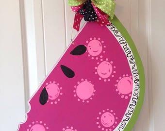 Watermelon Door Hanger, Watermelon Wreath, Watermelon Decor, summer Door Hanger, Summer Wreath, summer welcome, wooden watermelon