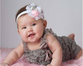 Gray Petti Romper,Gray Lace Petti,Newborn Gray Petti Romper,Gray Birthday Romper,Girls Gray Pettie Romper,Toddler Gray Lace Romper