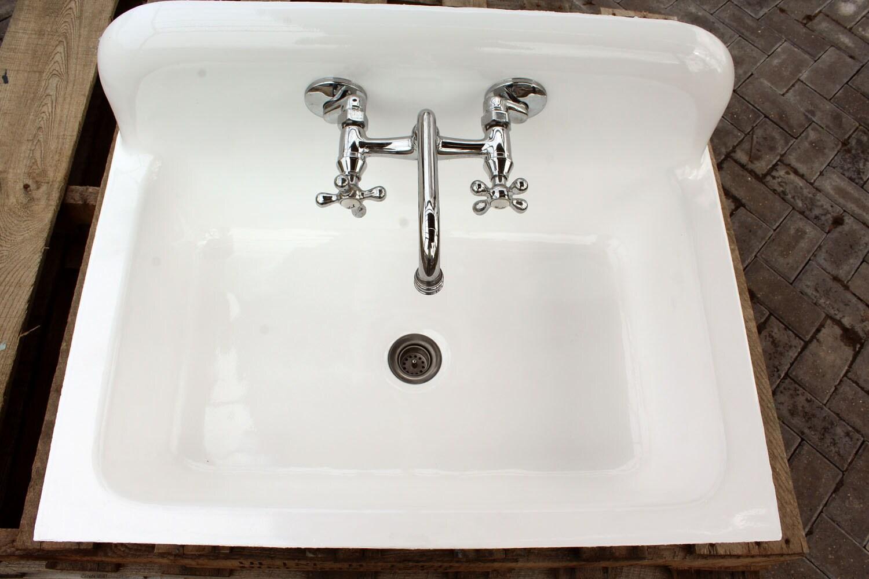 """vintage refinished high back farm sink 30"""" cast iron porcelain"""