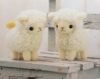 Japanese Hamanaka Felt Wool Mascot Needle Felting Kit- 2 Sheep Dolls. Japanese Wool Felt Kit. Needle felt animals.