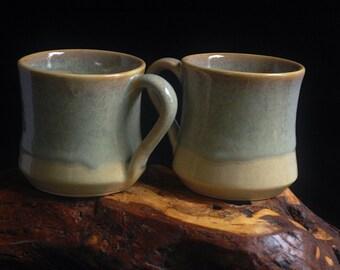 Handmade Blue Creme Coffee Mugs Set of 2; cappuccino mugs, tea cups, rustic pottery, ceramic mugs