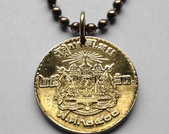 Thailand 25 Satang coin pendant Thai Siam temple necklace Siamese Coat of arms 3 headed elephant Airavata temple Indochinese n001496