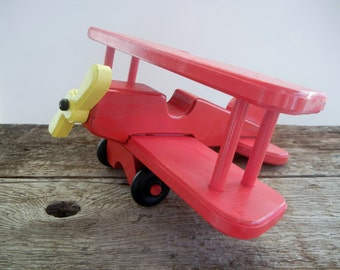 Red Toy Airplane -Handmade Wood Biplane-Free Spinning Rotor and Landing Wheels-Choose a Color-Red Toy Plane
