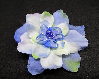 Blue flower hair clip, bridesmaid hair clip, blue silk flower hair accssory, wedding hair clip, party hair clip, girls croc clip, blue clip