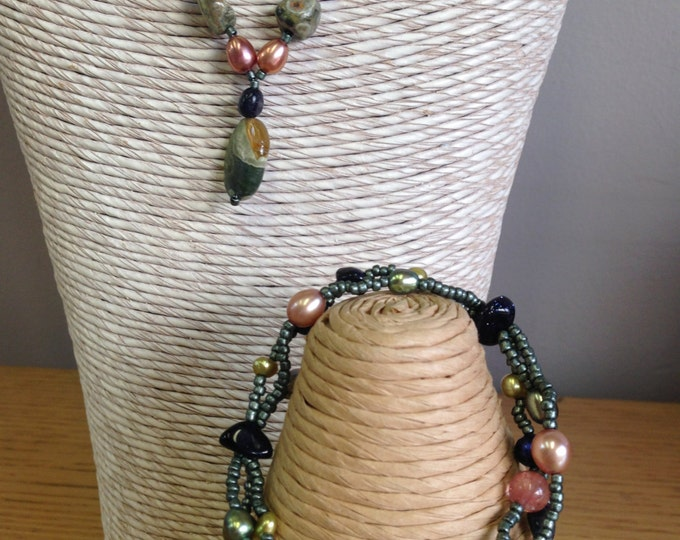 Semi Precious Gem Jewelry - Rhyolite, Blue Goldstone, Cherry Quartz, Cultured Pearls Bracelet or Necklace