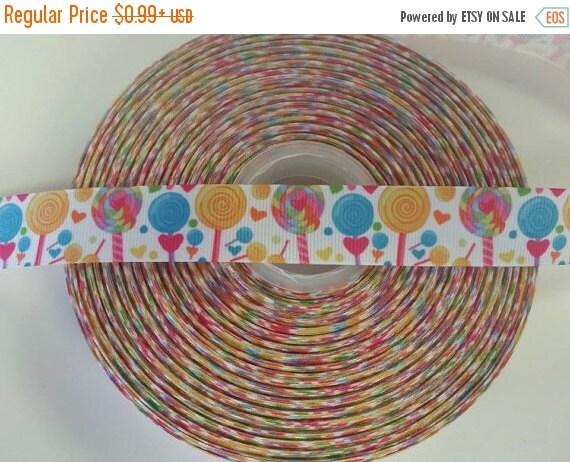 "SUPER SALE LOLLIPOP Candy Land 7/8"" 22mm Grosgrain Hair Bow Craft Ribbon 781864"