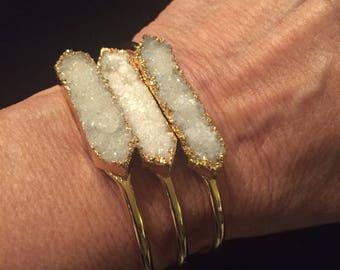 Raw Crystal, Druzy Cuff, Minimal Bracelet, Women's Jewelry, 14K Plated, Women's Minimal Bracelet, Simple,  Minimal