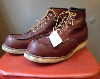 Vintage red brown leather moc toe Red Wing boots 8138 work chore workwear lace up US 12 UK 11 made in USA welted sole