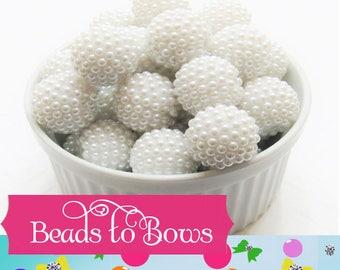 20mm White Berry Pearl Rhinestone beads, Bubblegum Pearl Bumpy Bead, Pearl Look Rhinestone Beads, Chunky Bumpy Beads, DIY Bead Supply