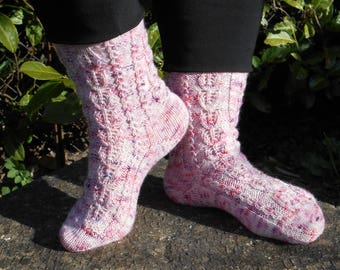 Hand knitted socks, size 36/37 (EURO),pink  purple, wool nylon