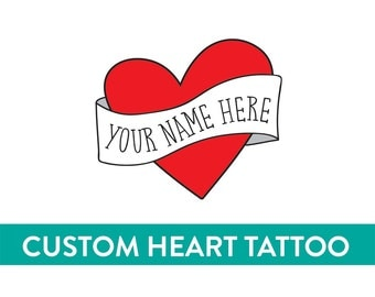 custom temporary tattoo personalized valentine heart tattoo fake tattoo retro vintage americana tattoo red heart banner custom name tattoo