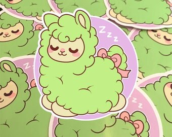 GREEN Kawaii Alpaca Nugget Sticker ( cute chibi stickers )