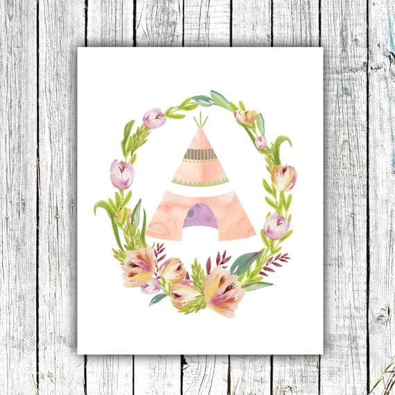 Nursery Wall Art, Teepee, watercolor, flowers, Printable Art, Digital Download Size 8x10 #578