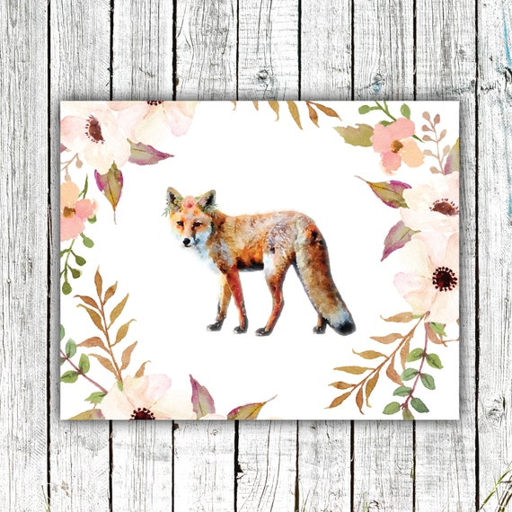 Nursery Wall Art, Fox, Floral, Woodland, Baby Girl, Watercolor, Digital Download Size 8x10 #606