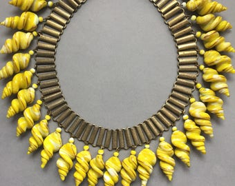 Vintage 1930's Amazing Yellow Glass Drop Collar Necklace