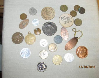 Vintage Mixed Lot Assortment Tokens Coins Keychains Medallions Advertising Trade Tokens over 25 Pieces