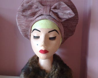 Replica 1940's Dusky Pink  Chenille Halo Hat