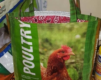 Recycled Reusable Green Chicken Poultry feed sack bag/tote/purse/shopping sack w/a red paisley bandana fabric liner
