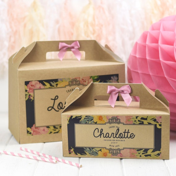 Wedding Gift Personalised Box : Personalised Wedding Favour Gift Box / Midnight Floral Kraft/ Hen ...
