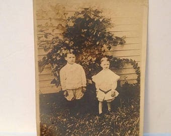 ON SALE Antique Vintage Photograph Two Brothers Children Kids By Tree -- Old Photo Early 1900's