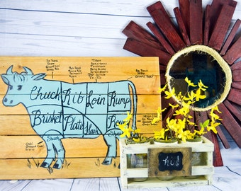 Butcher Chart, Cow, Butcher Chart Diagram, Kitchen Art, Cuts of Meat, Kitchen Decor, Beef Sign, Rustic, Wood Sign, Farmhouse, Farm Kitchen
