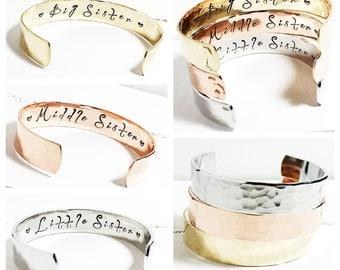 Sisters Gift | Big Sister | Middle Sister | Little Sister | Personalised Sisters Bracelets (C053)