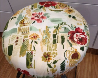 Tuscan landscape print elasticized round barstool cover, kitchen counterstool seat cover, various colors available, washable cotton fabric