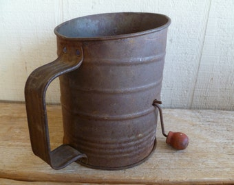 Bromwell's 3 cup Vintage Rusty Flour Sifter Kitchen Wood Handle