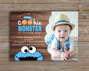 Cookie Monster Sesame Street Birthday Invitation and Thank You Card, printable, customizable, photo, Digital File or Printed Options