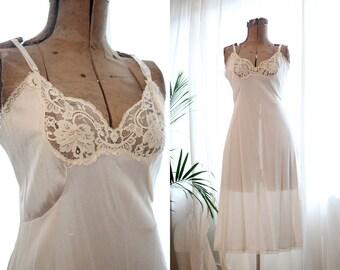Vintage cream bone white classic lace chemise slip classic boudoir