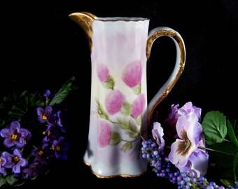 Vintage Porcelain Pitcher, Scottish Thistle Pitcher, Handpainted Porcelain Pitcher, Ceramic Flower Pitcher, Vintage Flower Vase, Pink Vase