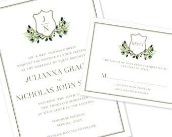 Wreath Wedding Invitation | Greenery | Script Wedding Invitation | DIY Option Available | Invitation | RSVP | Info Card #1205