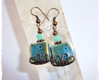 Attractive Ethno Earrings in trendy Afro-Look, copper+turquoise, Boho Chic Earrings in African Design, fashionable + hip, Gift Idea for You
