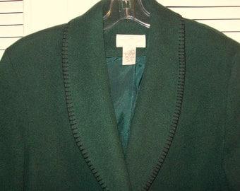 Blazer 12, Blazer 14,  Rich Green Blazer Jacket Wool Blend Warm Find! Size Medium see details