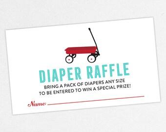 INSTANT DOWNLOAD Diaper Raffle Ticket, Diaper Raffle Card, Baby Shower Diaper Raffle, Diaper Raffle PDF, Diy, Red Wagon, Radio Flyer, Retro